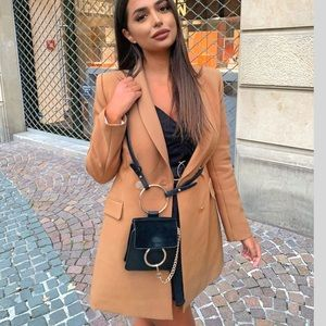 NWT Zara Bloggers Camel Double Breasted Frock Coat